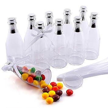 CLE DE TOUS - 10 mini Botellas de plástico de Regalo Cajas para Dulces Bombones para Boda Cumpleaños Bautizo Baby Shower Graduación Navidad: Amazon.es: ...