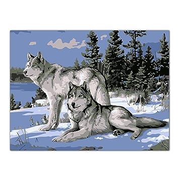 Ecmqs Wolf Ol Malen Nach Zahlen Acryl Zeichnen Auf Leinwand Diy Home