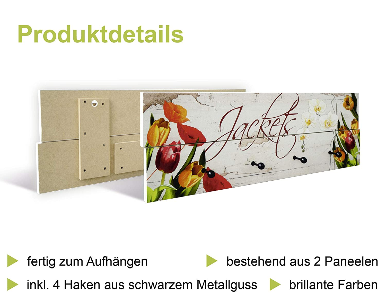 Artland Qualitätsmöbel I Garderobe mit Motiv 5 Holz-Paneele mit Haken 114 68 x 114 Haken cm Landschaften Landkarten Digitale Kunst Braun F1QI Weltkarte fad45f