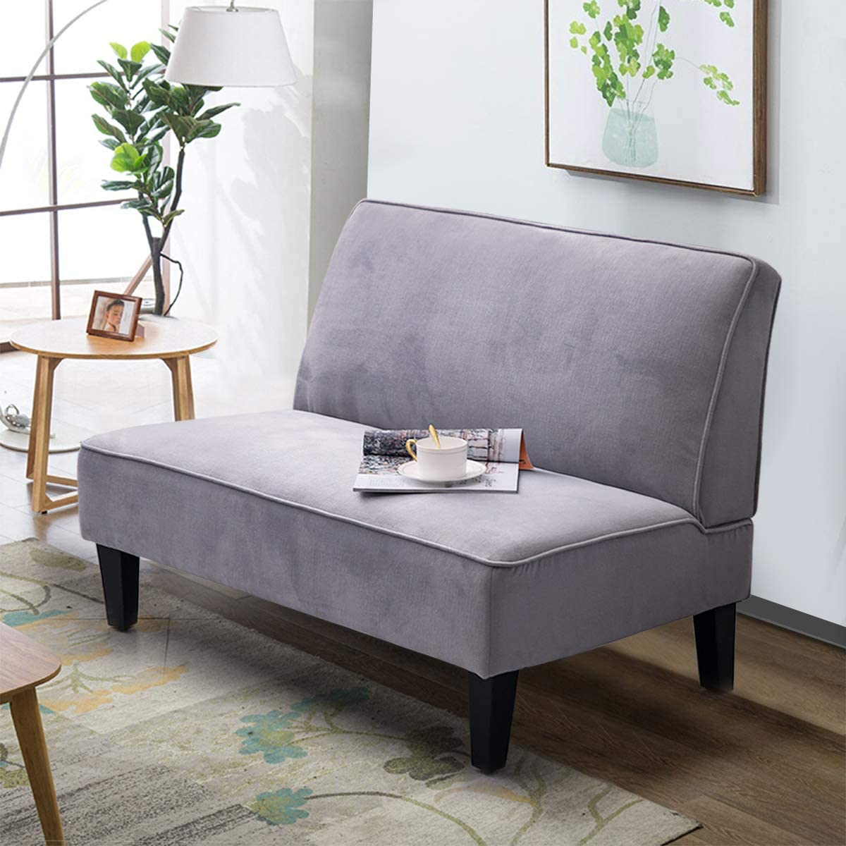 Alunaune Upholstered Settee Loveseat Bench Cushioned Linen Armless Sofa Couch Home Casual Living Room Sleeper Light Grey