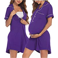 Ekouaer Nursing Nightgowns for Breastfeeding Cotton Button Labor and Delivery Gown Short Sleeve Maternity Gown for…