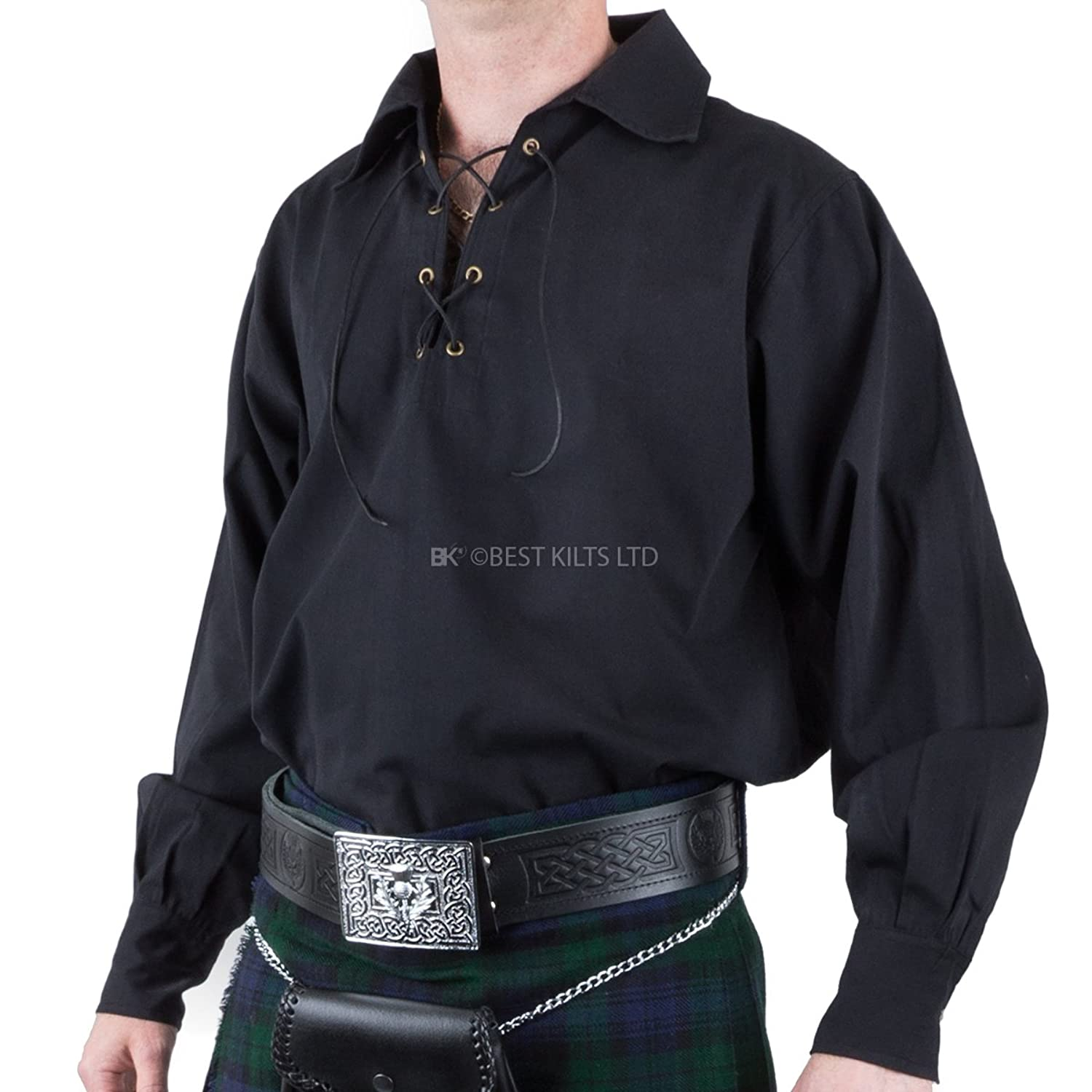 Mens Traditional Kilt Jacobilte Ghillie Shirt, Black, Various Sizes