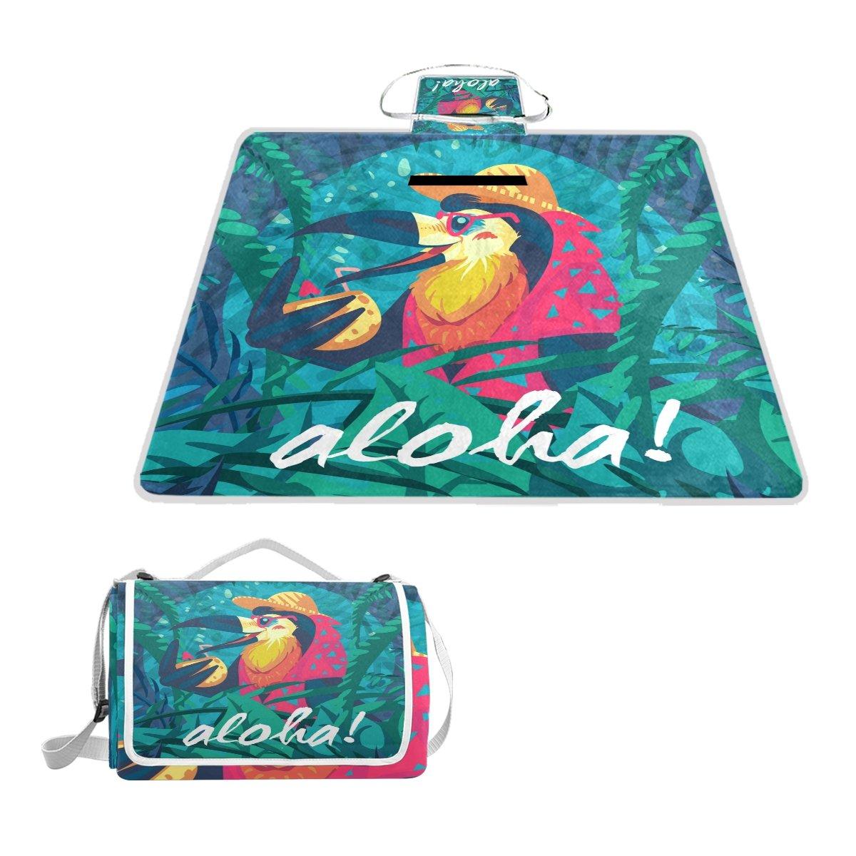 Fengye Funny Hawaiian Bird Outdoor Handy Picnic Blanket Mat Cover Waterproof Grass Carpets Foldable Tote bag Camping Hiking Beach
