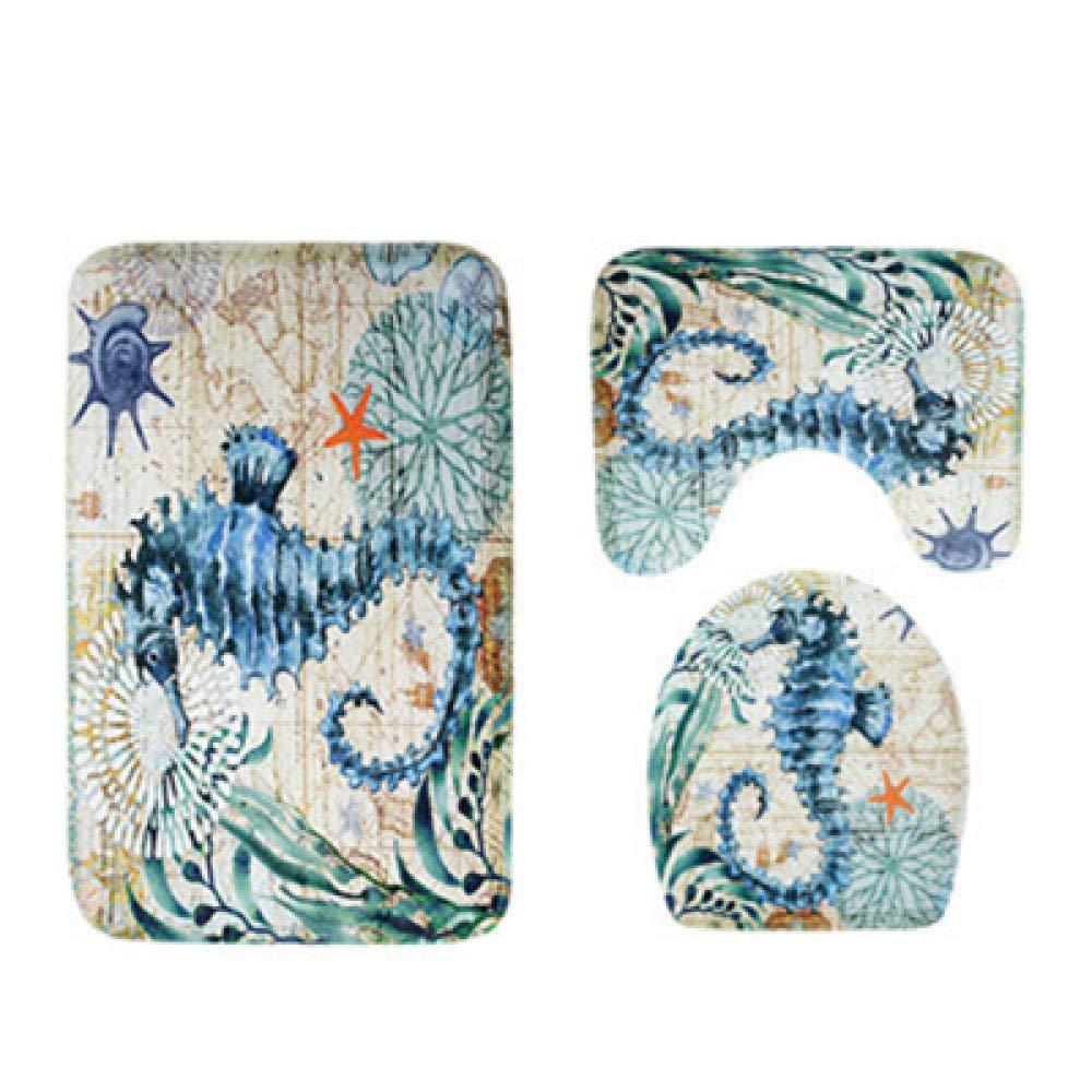 GMYANMTD Bad Produkte Zubehör 3 PCS Badematte Set Sea World Klares Muster Helle Farbe Soft Anti Slip Wasserabsorbierend Waschbar B07HF7LYN3 Duschmatten