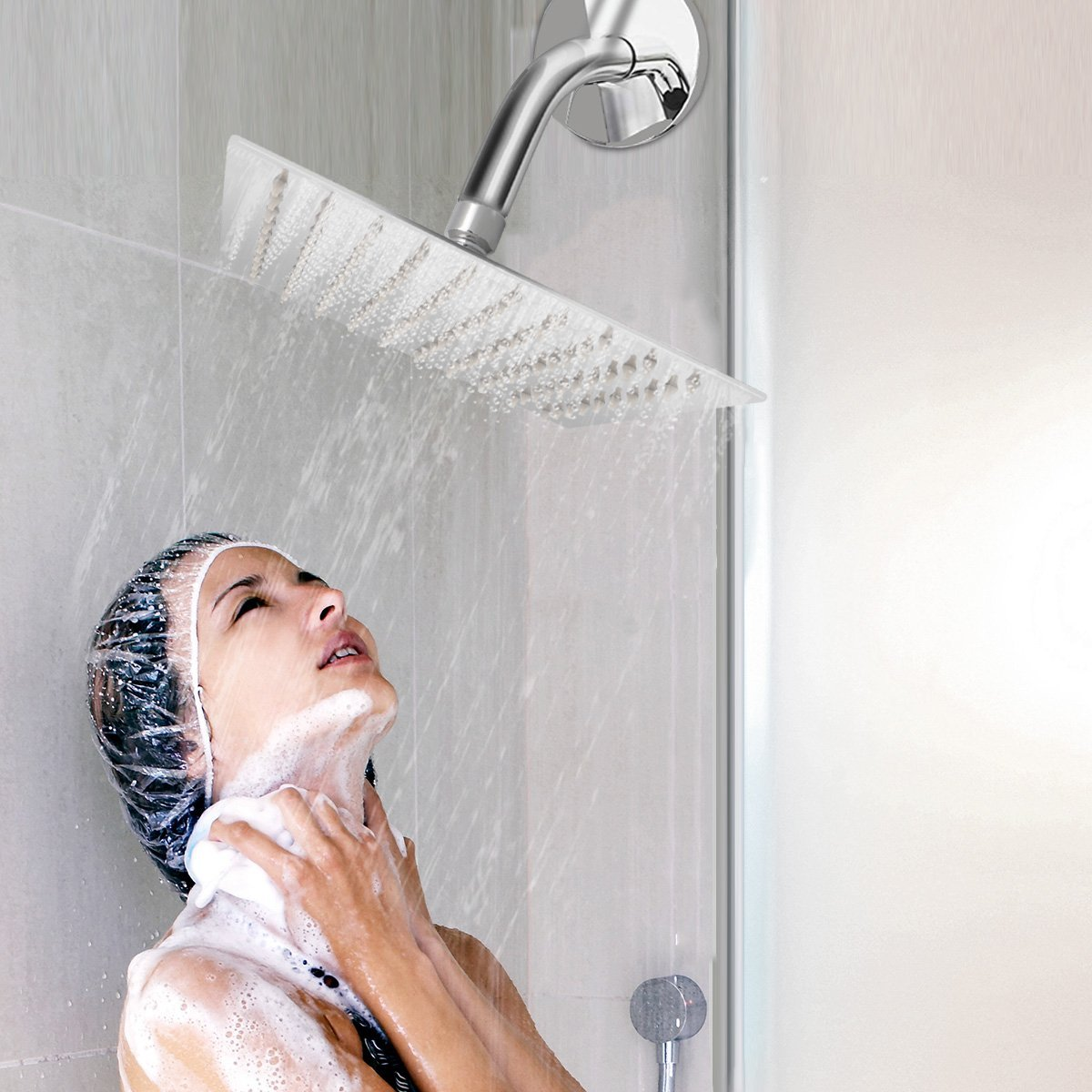 Rainfall Shower head, ieGeek Universal Luxury Large Bath Shower 304 Stainless Steel High Pressure Shower Head with Full Polish Chrome Finish and Anti-lime Nozzles Easy to Install Square - 12 Inch by ieGeek (Image #7)