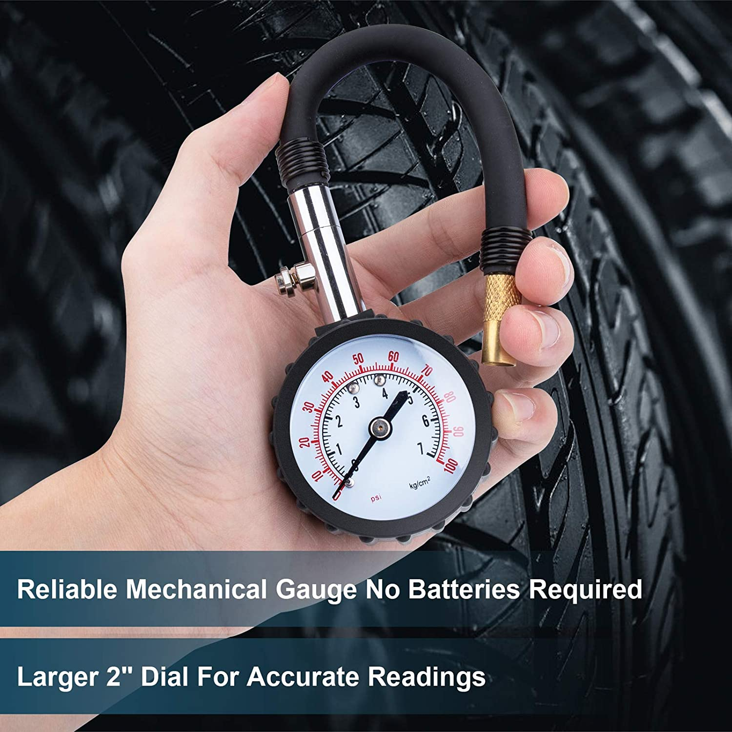 Deflator Air Pressure Gauge with Rubber Hose for Motorcycle//Car//RV//Truck Tires Heavy Duty Accurate Air Pressure Tire Gauge Zoe sunny 100PSI Tire Pressure Gauge air Pressure Gauge