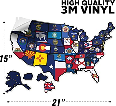 Stickers Wisconsin Map Flag Decals