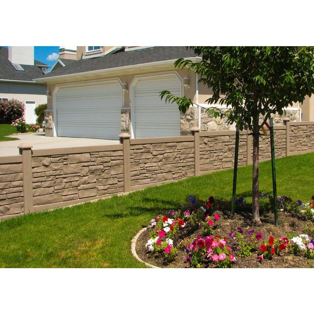 amazon com simtek 3 u0027 x 6 u0027 ecostone brown composite fence panel