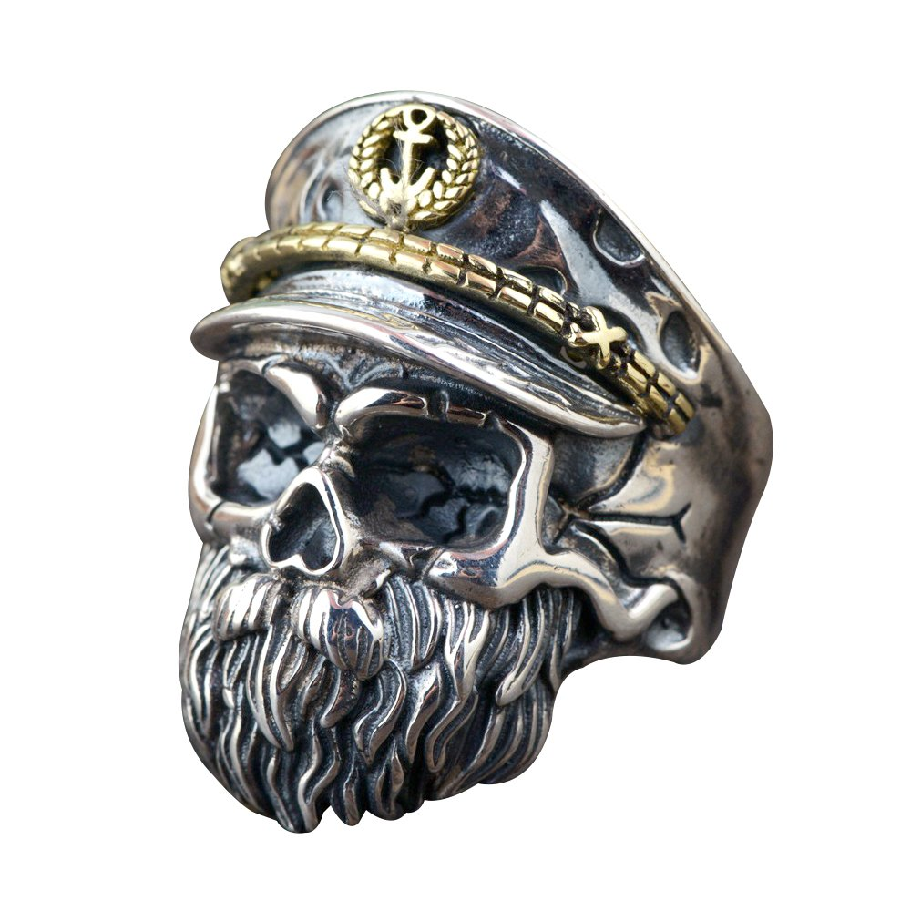 FORFOX Two Tone 925 Sterling Silver Skull Beard Ring with Hat for Men Boys Adjustable Size Q 1//2-V 1//2