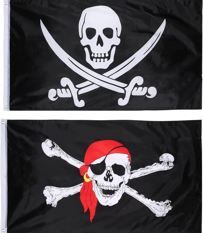 Amazon.com: Hestya 2 piezas Jolly Roger bandera pirata ...