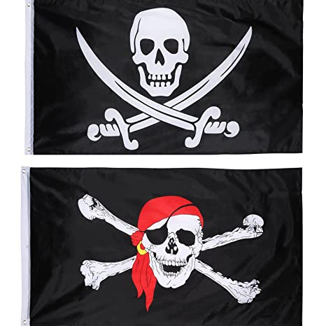 2 Pezzi Bandiera Jolly Roger Pirate Bandierina Teschio per la