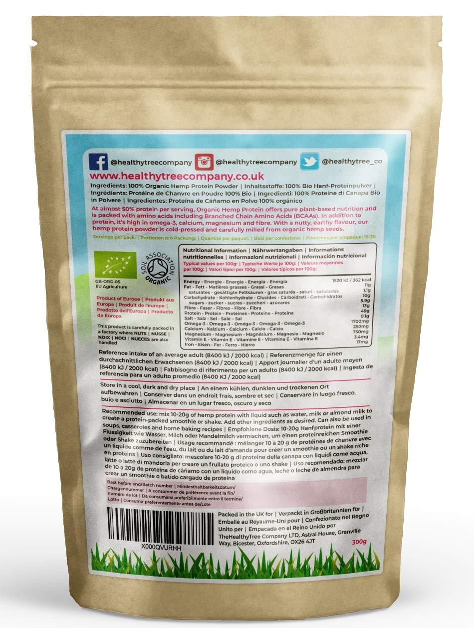 TheHealthyTree Company Proteína de Cáñamo Orgánico en Polvo - Cosechado en Europa con alto contenido en proteínas, Omega-3, aminoácidos y magnesio - Polvo ...