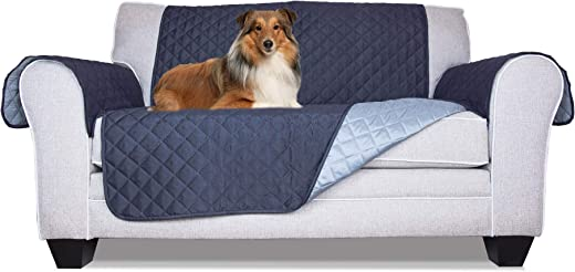 Furhaven Pet Furniture Cover | Two-Tone Reversible Water-Resistant Living Room Furniture Cover Protector Pet Bed for Dogs & Cats, Navy & Light Blue, Loveseat
