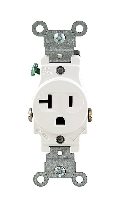 Leviton 102-05801-WSP 20-Amp 125-Volt Single Receptacle Electrical ...