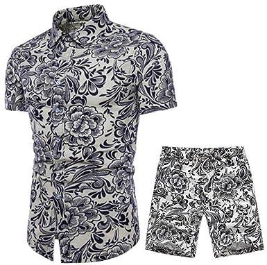 b834dfb61dcb KLJR-Men Summer Ethnic Print 2 Piece Cotton Linen Outfits Shirt Shorts  Tracksuits at Amazon Men s Clothing store