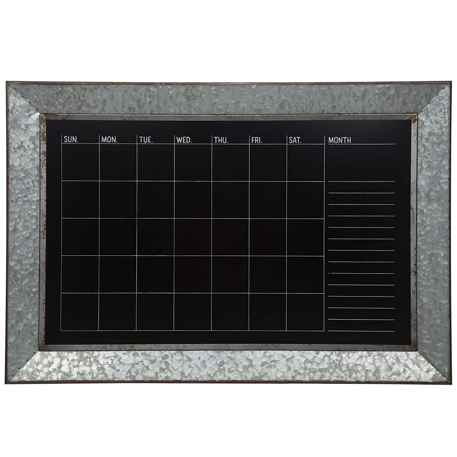 Everly Hart Collection Rustic Galvanized Metal Framed Mount Chalkboard Calendar Décor or Wall Art, Silver