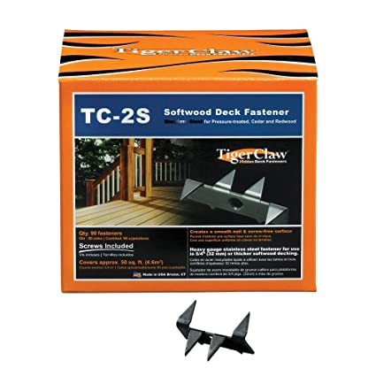 Tiger Claw TC-2S Stainless Steel Hidden Deck Fastener for Softwoods, 90 Pieces (F-4387-2SRB) - Hand Staplers And Tackers - Amazon.com