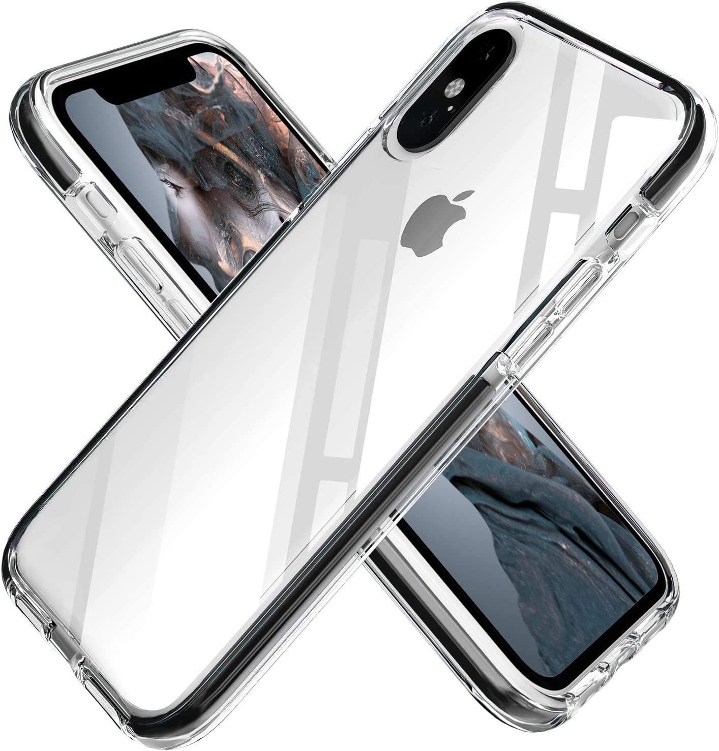 iPhone Xs Max Case Clear Anti-Scratch Anti-Slippery Transparent Shockproof Bumper Protective Case Cover Compatible with iPhone Xs Max 6.5in-2018 (Black)