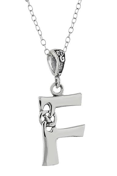 0f38bb72e3ad Celta inicial letra F colgante collar - plata de ley 925 - Nudo Celta  inicial  Amazon.es  Joyería