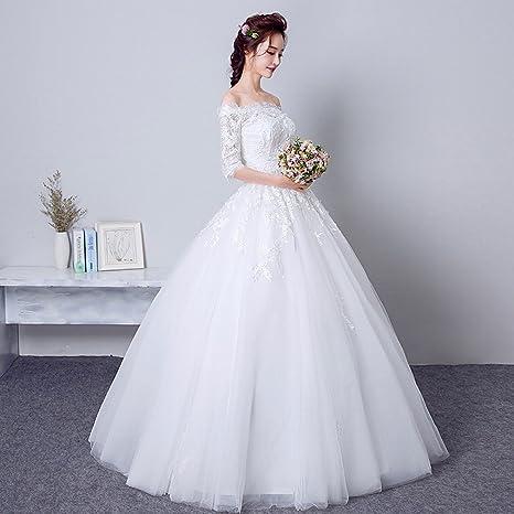DRESS Novia Vestido de Novia Vestido de Novia Hermosa Princesa Vestido de Novia Vestido de Encaje Delgado Vestido de Novia,UN,Metro: Amazon.es: Hogar