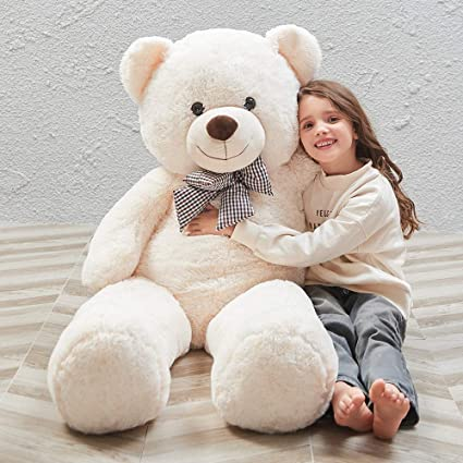 Amazon.com: Misscindy Giant Teddy Bear Plush Stuffed Animals for Girlfriend  or Kids 47 inch, (White): Toys & Games