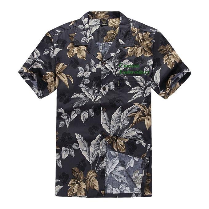 51b66792e90 Palm Wave Men s Hawaiian Custom Emboridery Shirt Aloha Shirt Luau Shirt S  Black and Gold Leaf
