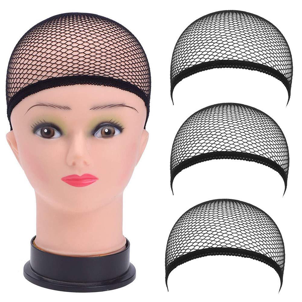 Ourhomer  3 Pc Wig Caps Elastic Stocking Wig Liner Cap Nylon Stretch Mesh Nylon Caps Mesh (Black)