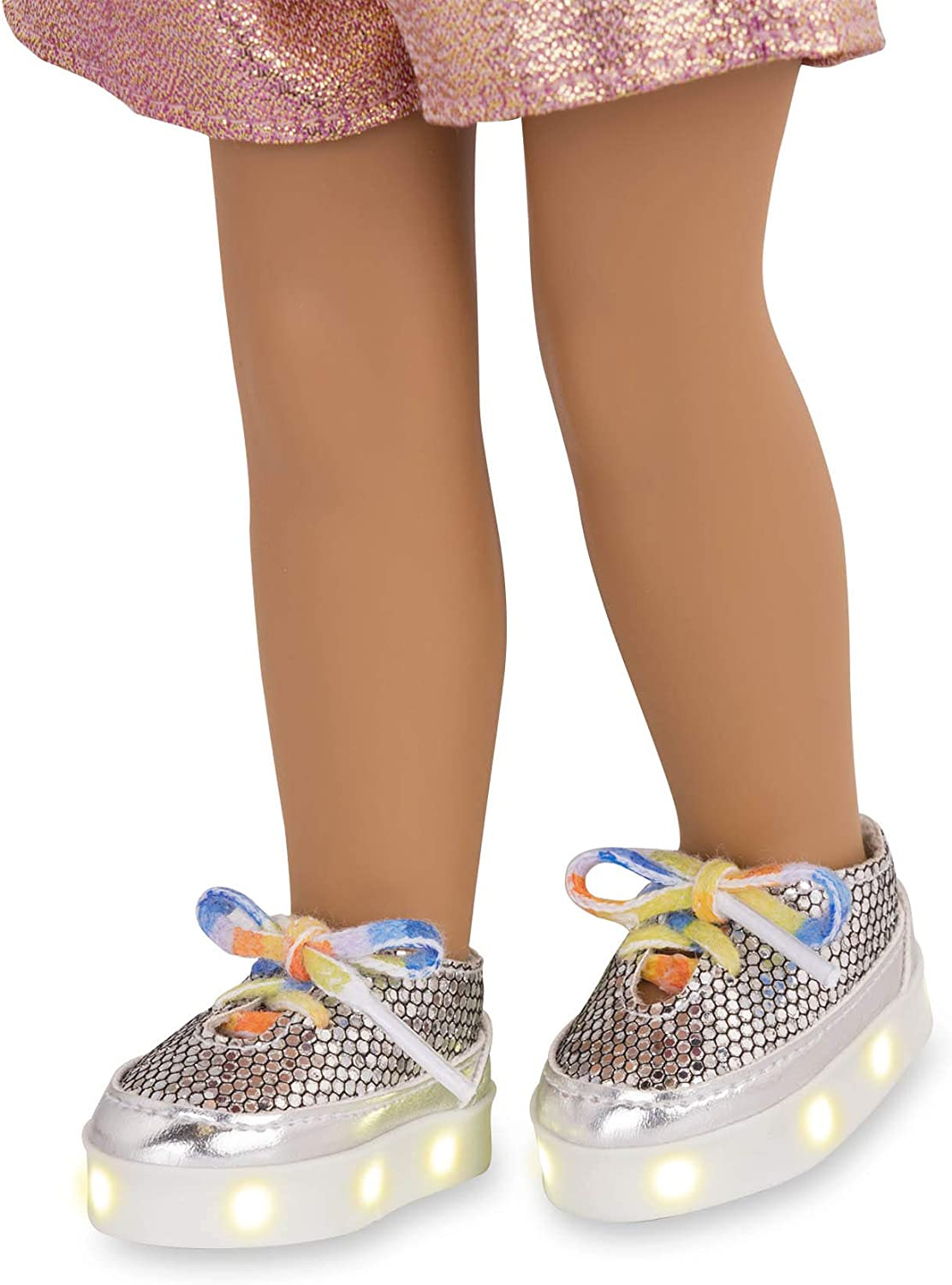 Shimmering Silver with LED Lights Brown//A Lucky Silver Light-up Shoes with Rainbow Shoelaces for 14-inch Dolls Toys Clothes and Accessories for Ages 3 and Up Glitter Girls by Battat