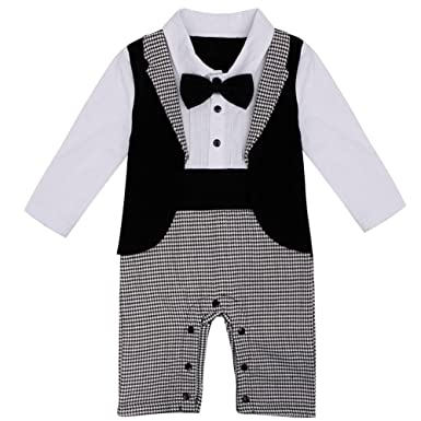 b6b510c8efe FEESHOW Baby Boy s Gentleman Romper Wedding Formal Tuxedo Suit Bow Tie  Outfit Black White 6-9