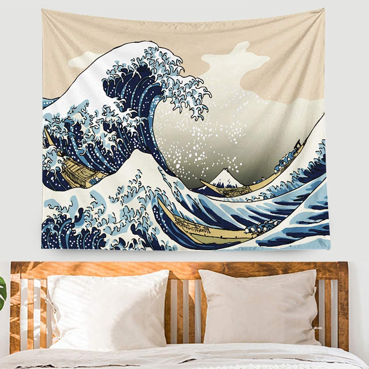 EONTHEN Great Wave Kanagawa Tapestry Wall Hanging Watercolor Nature Tapestry Thicker Vsco Tapestry Wall Art for Living Room Bedroom Dorm Wall Decor Vsco Room Decor(51.2''x59.1'')