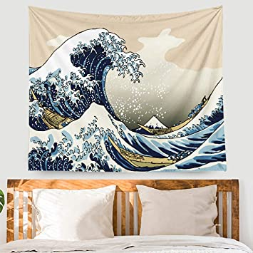 EONTHEN Great Wave Kanagawa Tapestry Wall Hanging Watercolor Nature  Tapestry Thicker Vsco Tapestry Wall Art for Living Room Bedroom Dorm Wall  Decor