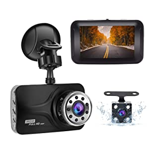 Dual Dash cam 1080P Full HD Front and Rear Camera for Cars, Driving Recorder with IR Sensor,170 Degree Wide Angle, 3 inch LCD Screen G-Sensor, WDR, Night Vision, Loop Recording WDR, Motion Detection