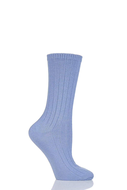 Ladies 1 Pair SockShop of London 100% Cashmere Bed Socks - 4-7 Ladies - Wedgewood
