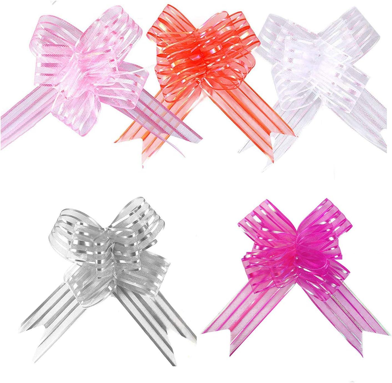 YapitHome 50 paquetes de arcos grandes para regalos de organza grande para envolver regalos boda decoración de coche Navidad flor regalo lazo lazo con cinta para cestas de regalo de boda