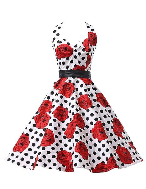Para mujer 50s Vintage de lunares blancos sobre fondo diseño de rosas vestidos de e instrucciones