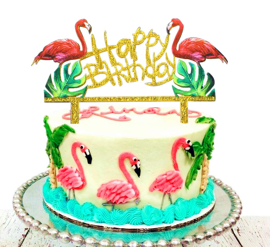 JeVenis Glitter Flamingo Cake Toppers BlingBling Pineapple Happy ...