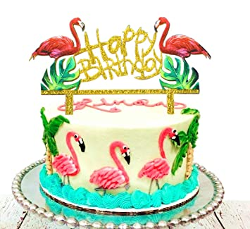 JeVenis Glittery Flamingo Cake Toppers Pineapple Happy Birthday Decoration For Tropical Hawaiian Luau Themed Party