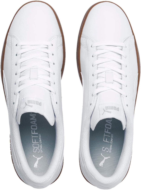 PUMA Smash V2 Leather, Baskets Basses Mixte Adulte Blanc White Gray Violet Gum