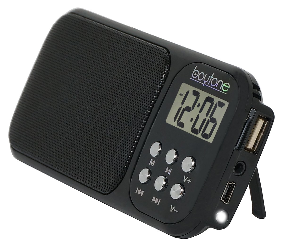 Boytone BT-92B Portable FM Transistor Radio Alarm Clock with Earphones, Rechargeable Battery, Built-in Speaker, Countdown Timer, LCD Tuning & Carry Strap + USB, Micro SD slot, AUX, LED Flash Light