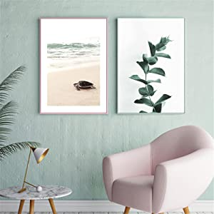 Liuqidong Abstract Wall Art Summer Landscape Sea Beach Leaf Plant Tortoise Poster and Print Canvas Painting Modern Home Decor (30x50cm) X2 unframed