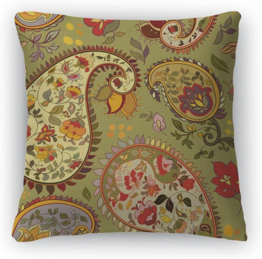 Gear New Beautiful Green Paisley Throw Pillow, Poplin, 26×26, GN2437
