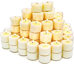 Unscented Tea Lights Candles for Candle Holder, 8H 100Pack Long Lasting White Small Votive Soy Candles for Home, Travel, Pool, Shabbat, Weddings or Emergencies