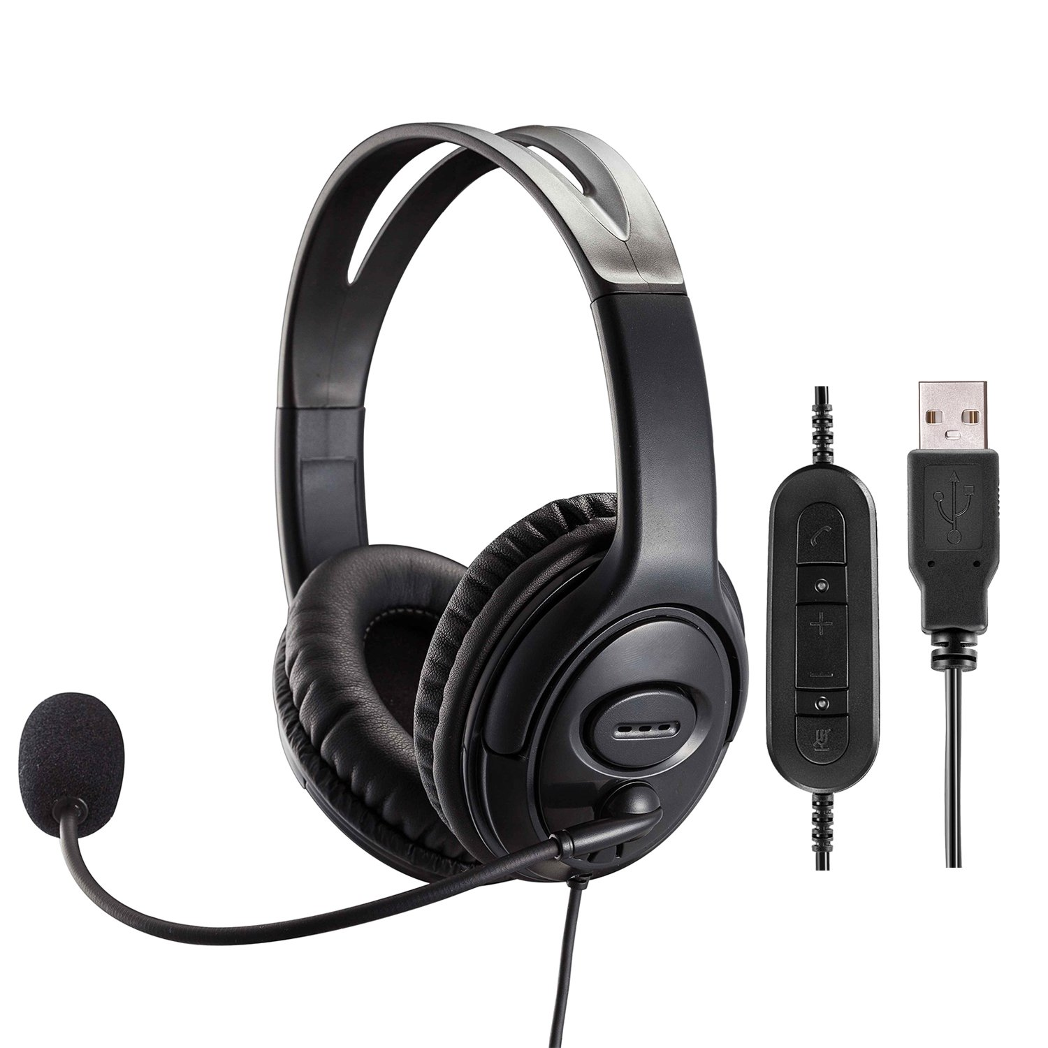 Dual Ear USB Headset with Microphone Noise Cancelling for Skype Business Microsoft Lync Education Speech Recognition