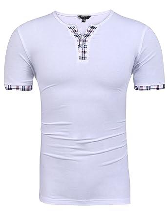 Coofandy Herren T-Shirt V-Ausschnitt Kurzarm Original t-shirts Tee  Einfarbig Kariert  Amazon.de  Bekleidung c682bee757