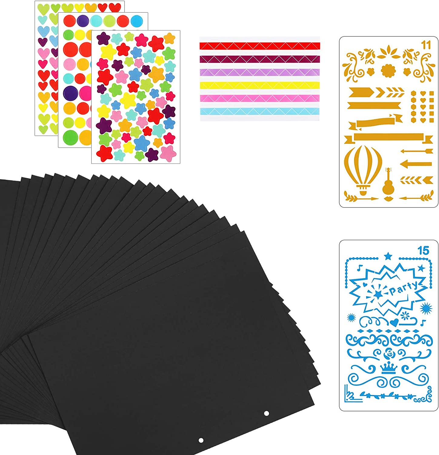 OPPRES 24 PCS Scrapbook Black Pages Paper for DIY Photo Album Scrapbooking Photo Pages with 3 Color Tag for Girl DIY Craft Couple Gift Album Birthday Party