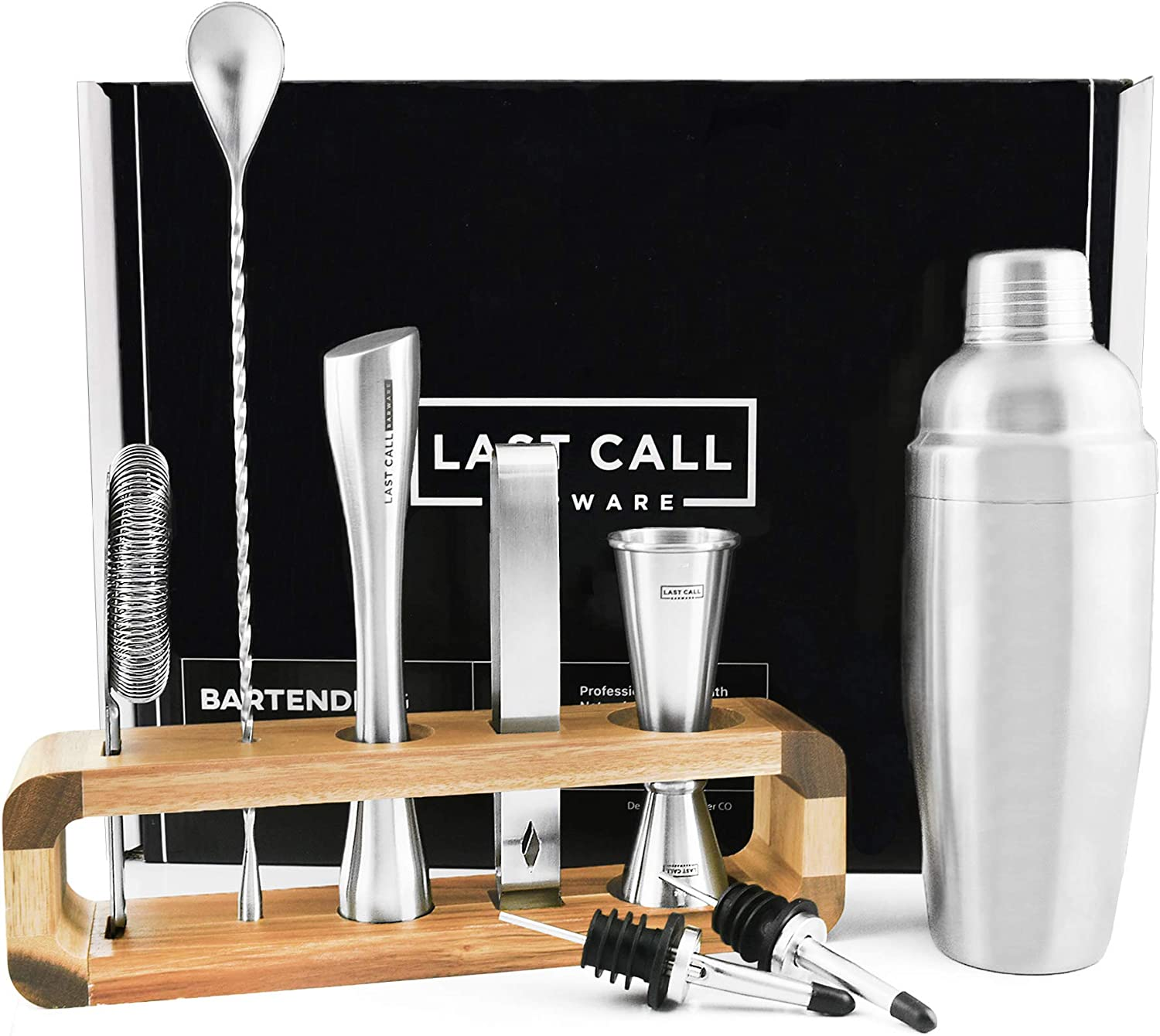 LAST CALL Barware Modern 9 piece Bartender Kit   100% Real Acacia Wood Stand   Top Grade Professional & Home Bar Set w/Authentic Bar Tools   Designed in Denver CO   Premium Brushed Stainless Steel