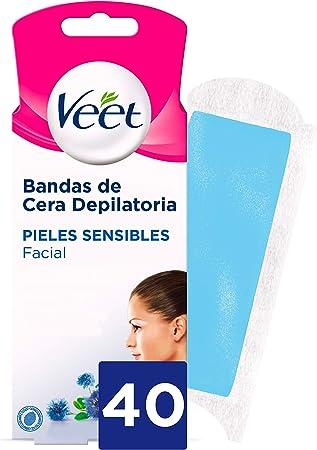 Veet Bandas de Cera Fria Depilatoria para Depilación Facial con Aceite de Almendras y Aroma de Aciano, Easy Gelwax, Pieles Sensibles, 40 Bandas