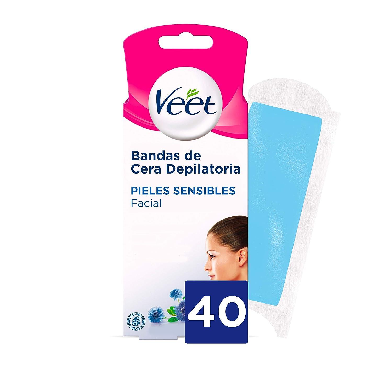 Veet Bandas de Cera Depilatoria Facial - Pieles Sensibles - Easy ...