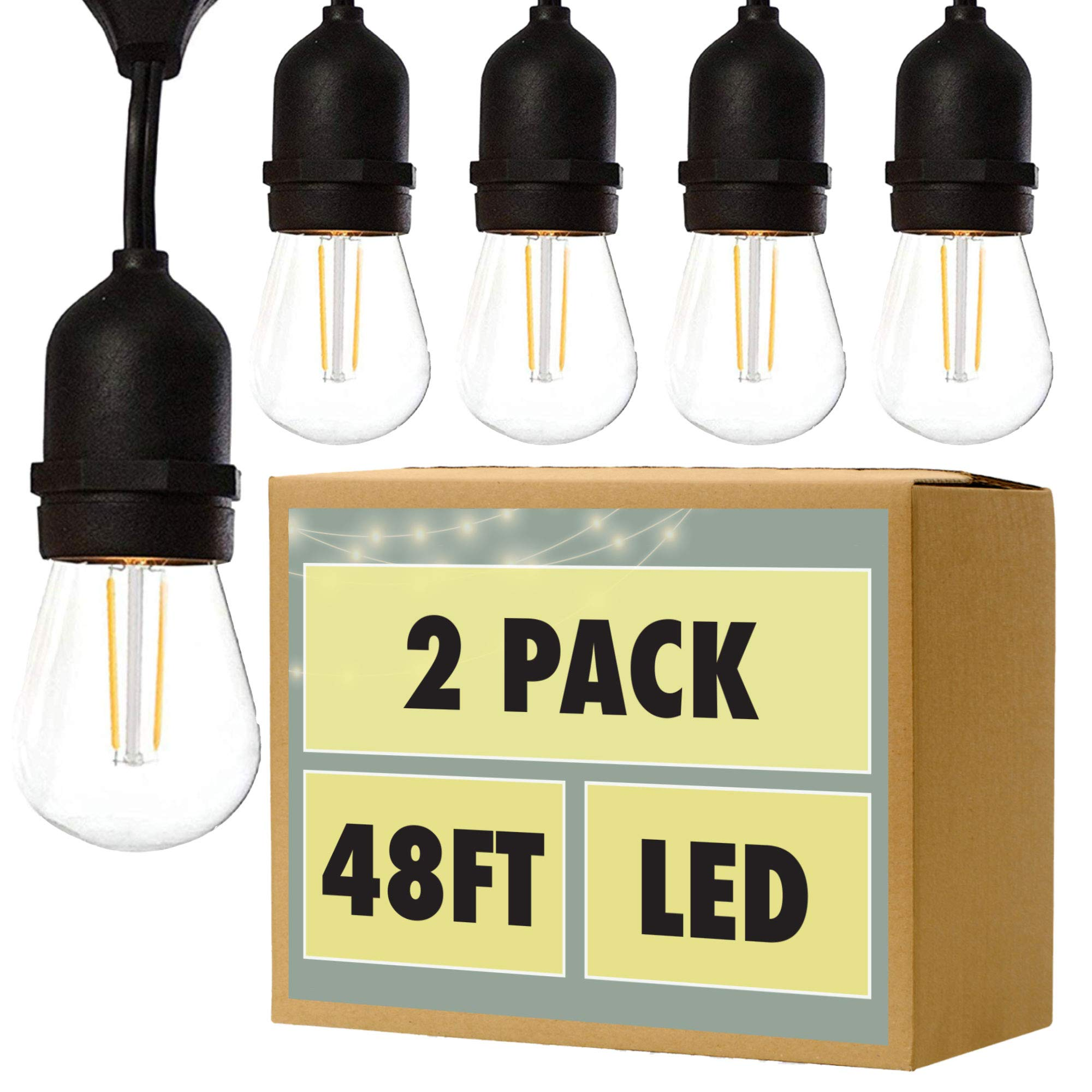 Fulton Illuminations 2 Pack of 48 Ft LED Outdoor String Lights with 6 Extra S14 Bulbs and 13 Foot Matching Extension Cord - Commercial Weatherproof Patio Lights
