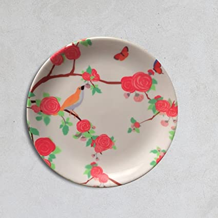 Cyahi - Whistling Birds - Wall Plates Ceramic Decor with Hook for Hanging. 7 Diameter